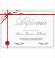 Certificate template with red ribbon vector image vector image