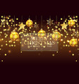 christmas background with golden balls and flakes vector image