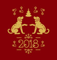 christmas card happy new year 2018 golden dogs vector image