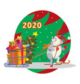 christmass mouse 5 vector image vector image