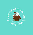 coffee cup and cake logo coffee shop cafe vector image