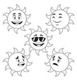 collection funny sun cartoon outline vector image
