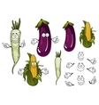 Corn cob daikon and eggplant vegetables vector image vector image