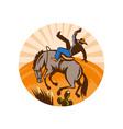 cowboy falling off horse in desert vector image vector image