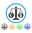 currency compare scales rounded icon vector image vector image