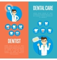 Dental care banners with male dentist vector image vector image