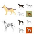 dog breeds cartoonblackflatmonochromeoutline vector image vector image