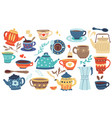 doodle cookery cartoon porcelain bowl mug and vector image