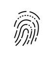 fingerprint - line design single isolated icon vector image vector image