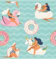 flamingo unicorn swan and sweet donut inflatable vector image