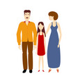 flat cartoon adult couple daughter isolated vector image vector image