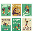 football soccer player set posters of characters vector image