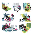 freelance people working from home using laptop vector image