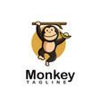 fun playful swing monkey holding banana logo icon vector image vector image