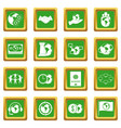 global connections icons set green vector image vector image