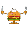 Hamburger Cartoon Holding Cutlery vector image vector image