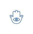 hamsa hand line icon concept hamsa hand flat vector image