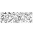 hand drawn sea food doodle set vector image
