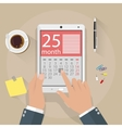 Hands with tablet pc calendar application vector image