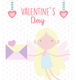 happy valentines day cute cupid with envelope vector image vector image