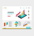 isometric infographic landing page template vector image