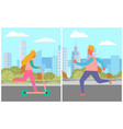 kids leisure on street urban activity vector image vector image