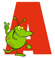 Letter A With An Alien vector image vector image