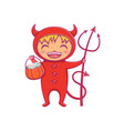 little boy in halloween costume of devil laughing vector image vector image
