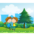 Lovers dating at the top of the hills vector image vector image
