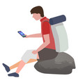 man with injured knee using phone to connect doc vector image vector image