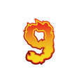 number 9 fire flames font nine tattoo alphabet vector image vector image