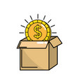 open box with coin cash money inside vector image vector image