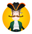 round sticker with the image of a fun pirate in a vector image vector image