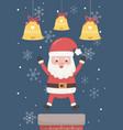 santa claus chimney and bells merry christmas card vector image