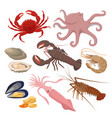 seafood set in flat design vector image vector image