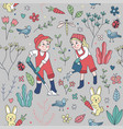 seamless pattern cute gardening wallpaper vector image vector image