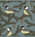 seamless pattern with branches of fir and birds vector image vector image