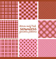 set brown and pink seamless geometric patterns vector image vector image