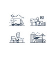 set icons with moving funny man storage vector image vector image