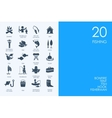 Set of BLUE HAMSTER Library fishing icons vector image