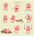 set of funny cute cartoon pig in different pose vector image