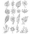 set thin line style floral icon vector image
