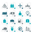 stylized natural gas objects and icons vector image vector image