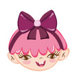 sweet little girl face pink hair with ribbon vector image vector image