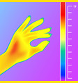Thermal imager scan human hand the image of a
