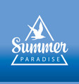 travel banner or logo with gull summer paradise vector image vector image