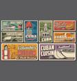 travel to cuba retro banners cuban tourism vector image