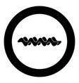 wave icon black color in circle or round vector image