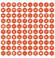 100 north america icons hexagon orange vector image vector image