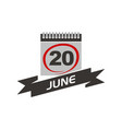 20 june calendar with ribbon vector image vector image